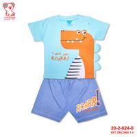 Baby Lona Blue Dino Roarr! 3D Denim Setelan Oblong Anak Bayi 1-3tahun