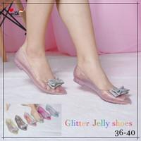 Sara Sara KEJORA jelly shoes wanita glitter transparan flat shoes pita