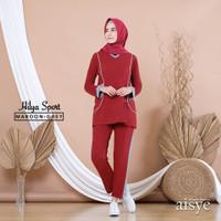 Baju olahraga senam wanita muslim muslimah setelan Hilya - M, maroon-grey