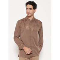 Woffi Man Baju Koko - Qatif Cotton Brown - L