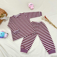 Baju Anak | Setelan Tidur Anak - Sano Kids Maroon Big Stripes