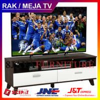 Rak TV / Meja TV LVR 122 VALAX Arsen 120 cm Putih Minimalis Kaki Kayu