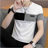 Kaos oblong - Kaos kombinasi pria korea - Putih, S