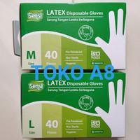 Sensi Hand Gloves Latex (40) Sarung Tangan Latex Sensi Gloves 40 Pcs