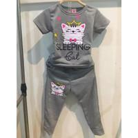 Chang Fashion Setelan Training Celana Panjang CAT SLEEPING Anak Cewe - Abu-abu, 2-3 tahun