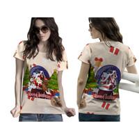 Baju Kaos Tshirt Wanita Pohon Natal Christmas Snowball Santa Claus 08