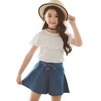 Setelan Korea Baju+Celana baju anak perempuan - Putih, 160cm