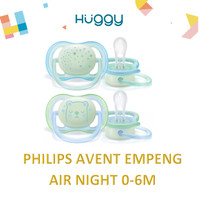 Philips Avent Empeng Ultra AIr Night 0-6m SCF376/11 Twin Pack Pacifier