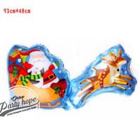 Balon Foil Kereta Santa Claus / Balon Merry Christmas Kereta Natal