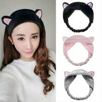 Bando handuk kuping kucing lucu / cute cat ears headband