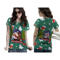 Baju Kaos Tshirt Wanita Pohon Natal Christmas Snowball Santa Claus 07