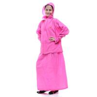 Jas Hujan Setelan Rok Wanita Korea Muslimah Gamis Mantel Hujan - Merah Muda
