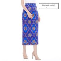 Rok Batik Songket Madame Rabbit Blue Motif Jahit Butik Furing Rapi