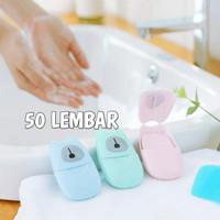 paper soap travel sabun kertas traveling portable lembar mini cuci kit