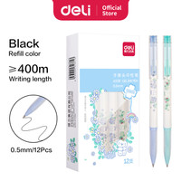 Deli School Gel Pen Pulpen Sekolah 0.35/0.38/0.5mm Tinta Warna Hitam