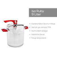 Panci Presto Pressure Cooker 3 Lapis Stainless 9L Isa Ruby Oshop