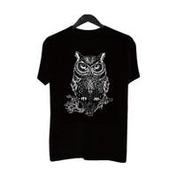 Happiest BF051 Kaos DistroPriaT-Shirt Pria KaosPria Burung Hantu Black - Abu-abu, L