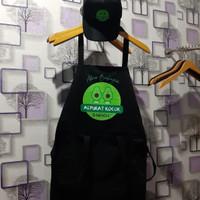 apron barista / celemek masak / custom apron +topi jaring