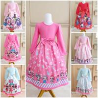 milanberry LOL LONG DRESS gamis anak perempuan kaos import baju gaun - Heart Soft Pink, Size 110
