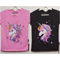 baju kaos atasan anak perempuan lengan pendek unicorn - anak cewek