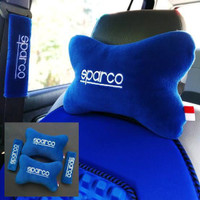 Bantal Mobil Racing 2in1 SPARCO Warna BIRU Headrest + Safety Belt
