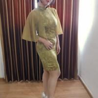 baju pesta wanita modern dress pendek model cheongsam qipao hijau