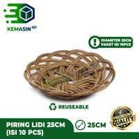 Piring Lidi Anyaman Rotan Bambu Diameter 25CM (ISI 10 PCS)