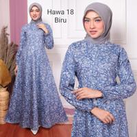 Baju Busana Maxi Gamis Syari Dress Wanita Muslim Busui Jumbo Pesta - Biru
