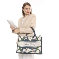 Tote Bag Kanvas White Peony Collection by Seruni Living