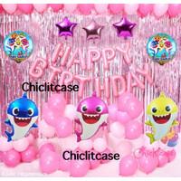 Set paket balon dekorasi baby shark ulang tahun birthday ultah hbd