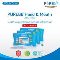 Pure BB Hand & Mouth Baby Wipes 60's Aloe Vera ( Buy 2 Get 1 )