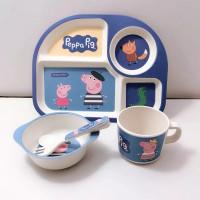 Peralatan Makan Bayi/anak anak Bamboo Fiber Feeding Set Peppa pig
