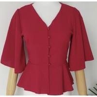Peplum Mid Sleeve Top Baju Atasan Wanita