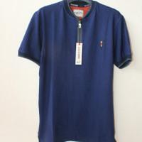 Kaos Pria kerah Shanghai / Kaos Lengan pendek / Kaos Polo Resleting - Hitam