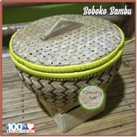 Bakul Wakul Sangkul Boboko Ceting Nasi dengan Tutup dari Anyaman Bambu - Batik Hitam