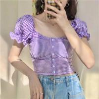 Collar Crop Top Lisa Plaid Sabrina Baju Kotak Wanita Korea Blackpink