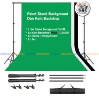 Paket Studio Foto Stand Background plus Kain Backdrop - Hijau