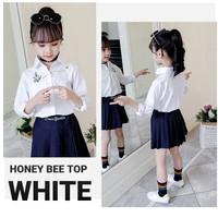 BAJUKIDDIE HONEY BEE TOP WHITE kemeja putih anak baju atasan formal