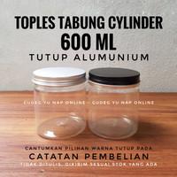 Toples Tabung Cylinder 600 ml TUTUP ALUMUNIUM - Jar Plastik 600ml