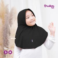 Jilbab Anak Usia SD 5-10 Thn Mueeza Alsha M Premium Spandex jersey - Hitam