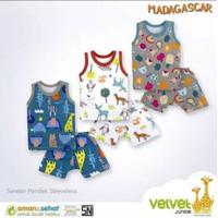 pakaian baju singlet kutung bayi anak velvet junior madagascar xl