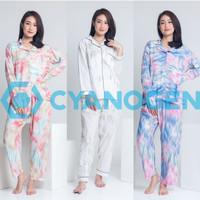 TANGAN PANJANG baju tidur tie dye piyama wanita dewasa cewek katun