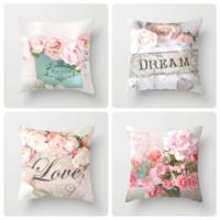 Sarung Bantal Sofa Pillow Cushion Cover Motif Warna Flower Seri 45x45