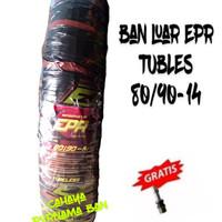 PAKET 1 BAN LUAR EPR TUBLES 80/90-14 ALL MOTOR METIC