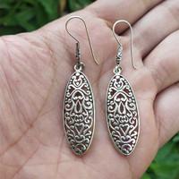 Anting Silver Perak Bali Panjang Hook Ukir Jantung Batik Asli 925