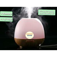 Diffuser Aromatherapy +Remote + 7 Warna Lampu Purifier pengharum udara - MotifKayu 500ml