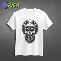 Kaos Premium - Monochrome Skull - ORIGA 0479 - Art - Putih, S