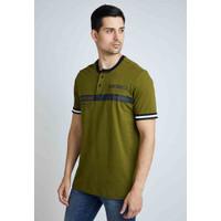 Woffi Man Kaos Pria - Brooklyn Overall Henley T-Shirt Green