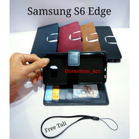 flip cover Samsung galaxy S6 edge- Wallet leather case kulit