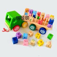 Mainan Edukasi Anak - Truk Hijaiyah Truck Kayu Huruf Arab Balok Iqro